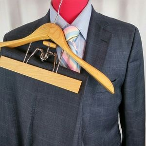 Brooks Brothers Saxxon Suit 44R Blue Windowpanes